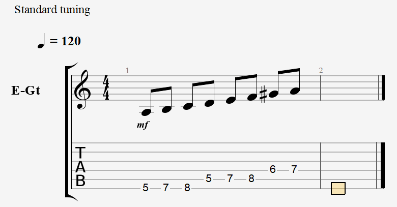 A Harmonic Minor - Notes and Tablature