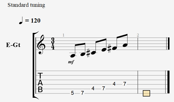 A Major Pentatonic - Notes and Tablature
