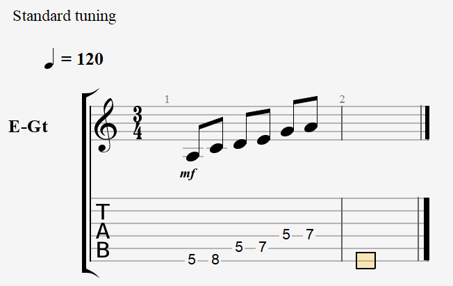 A Minor Pentatonic - Notes and Tablature
